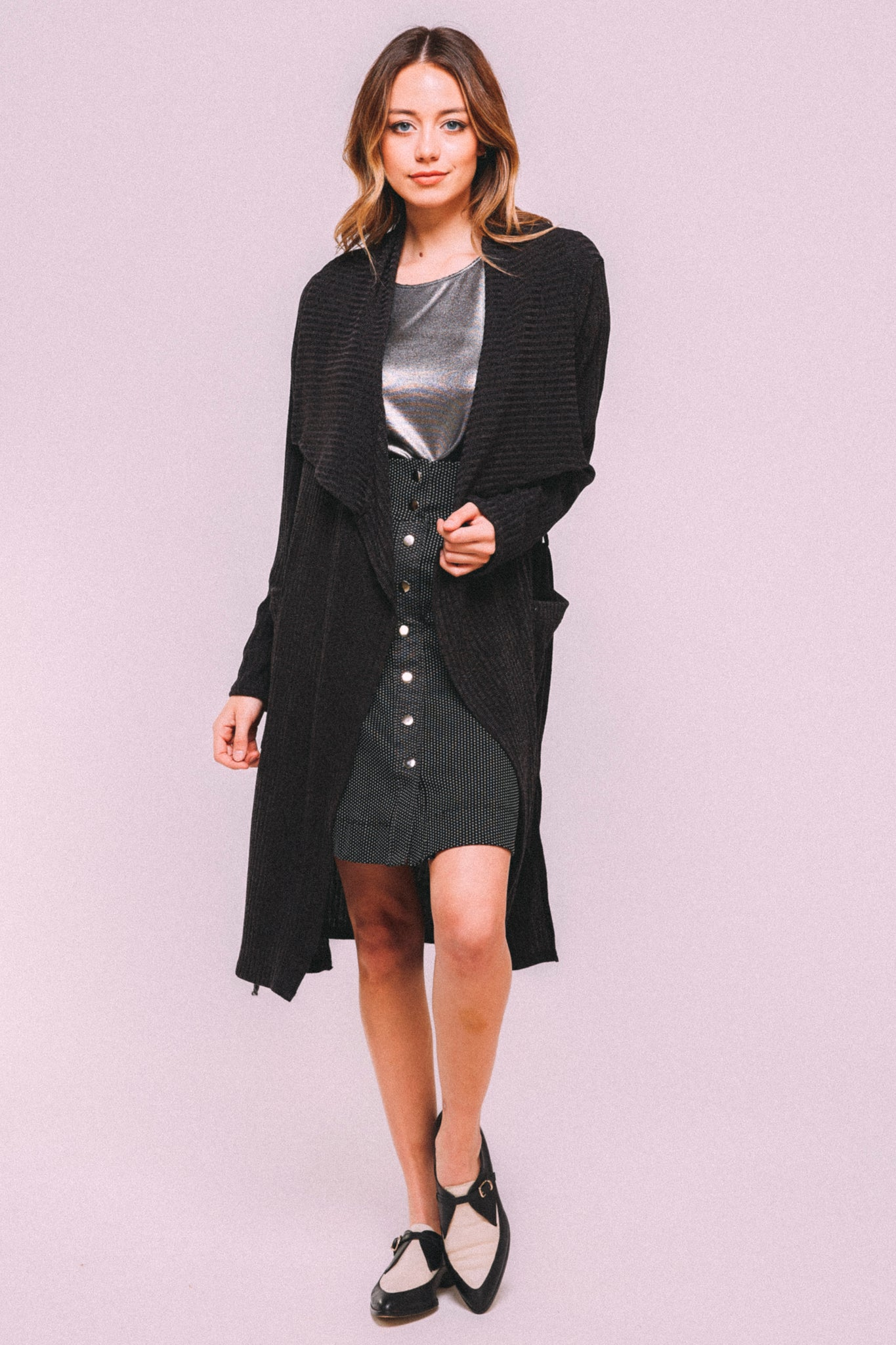 Belted Knit Trench