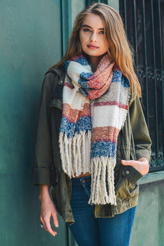 Leto Accessories - Multicolor Stripe Marled Scarf