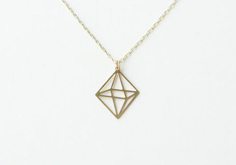 A Tea Leaf Jewelry - Octahedron Necklace | Brass