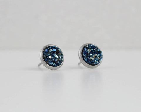 A Tea Leaf Jewelry - Midnight Blue Druzy Crystal Earrings