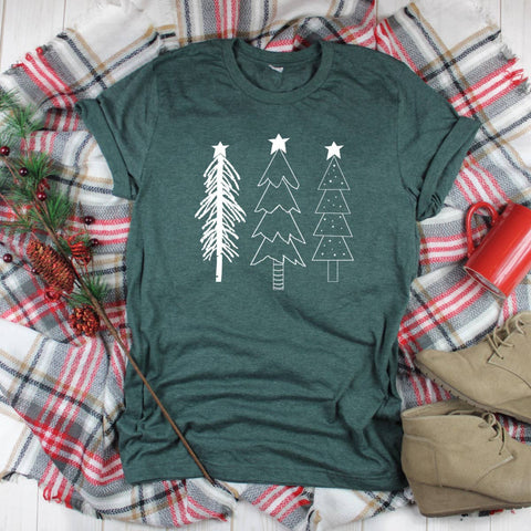 Top Crate Clothing - Christmas Graphic Shirt- Primitive Christmas Trees (white)