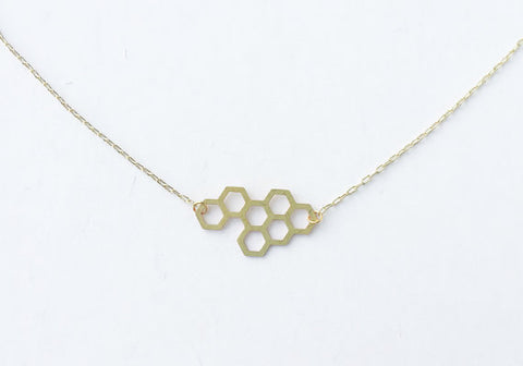 A Tea Leaf Jewelry - Honeycomb Necklace | Small | Silver Plated