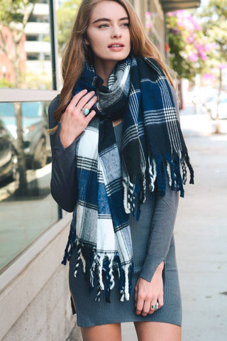 Leto Accessories - Oversized Flannel Tassel Scarf