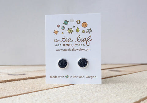 A Tea Leaf Jewelry - Charcoal Black Druzy Crystal Earrings