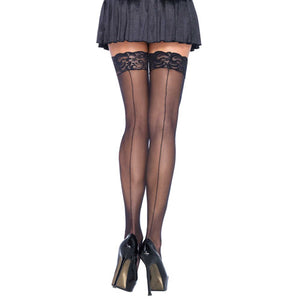 Leg Avenue Sheer Stockings With Backseam Black  UK 8 to 14
