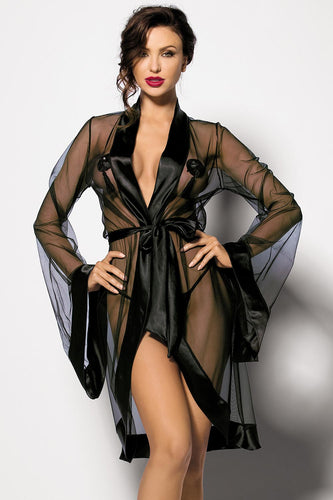 Sheer robe with satin hemline
