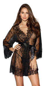 Dreamgirl Black Romantic Lace Long-Sleeved Kimono Robe