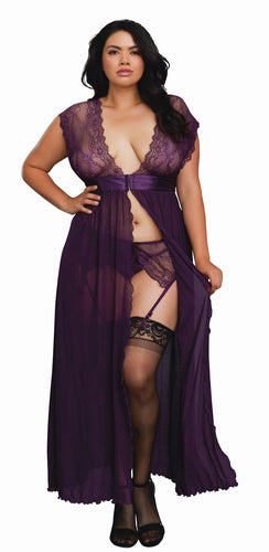 Dreamgirl Plus Size Plum 3 Piece Lace and Mesh Gown Set