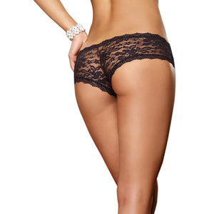 Dreamgirl Black Stretch Lace Low-Rise Cheeky Hipster Panty