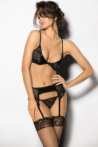 Black underwire lingerie set with garter belt