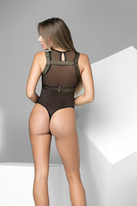 Mapale Black Bodysuit With Lurex Gold Harness