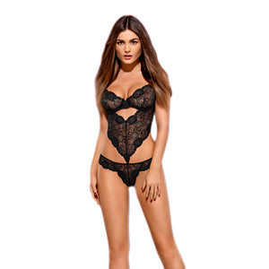 Black lace teddy with underwire