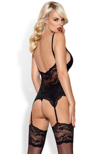 Black basque with lace back and suspender straps