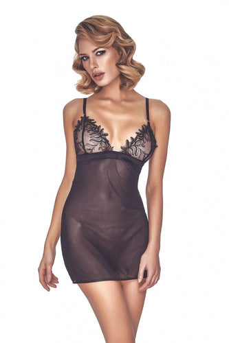 Anais Black Chemise with Lace Cups