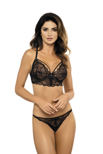 Gorteks Floral Lace Semi-soft Bra with Caged Bust