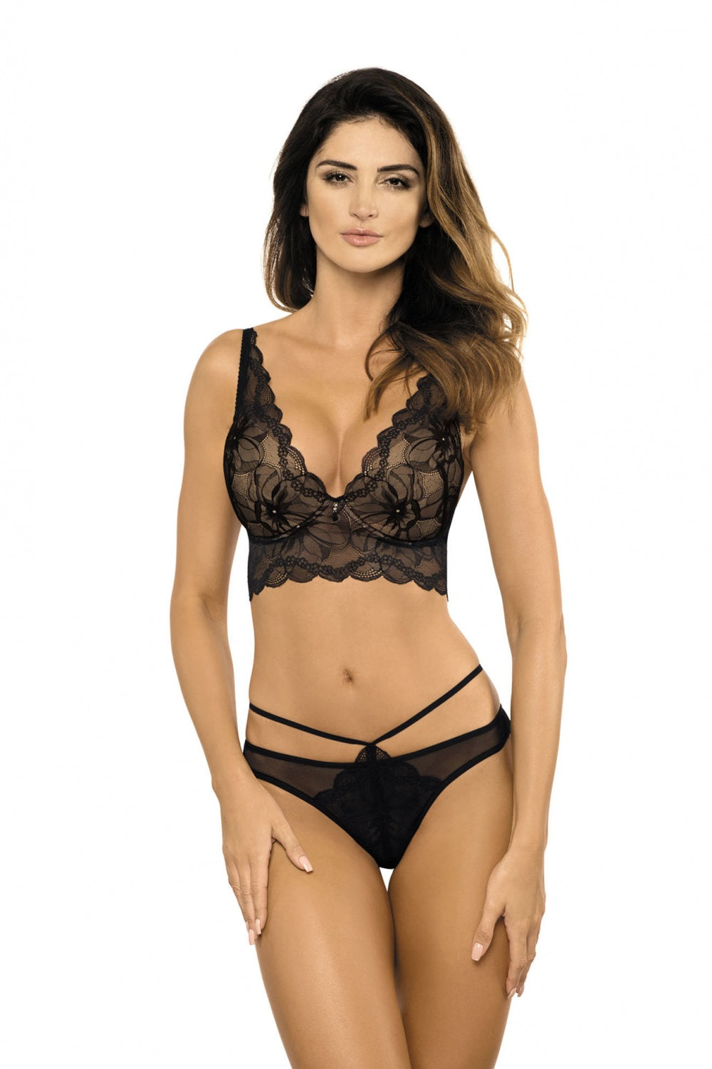 Kennedy Black Long-line Lace Push Up Bra