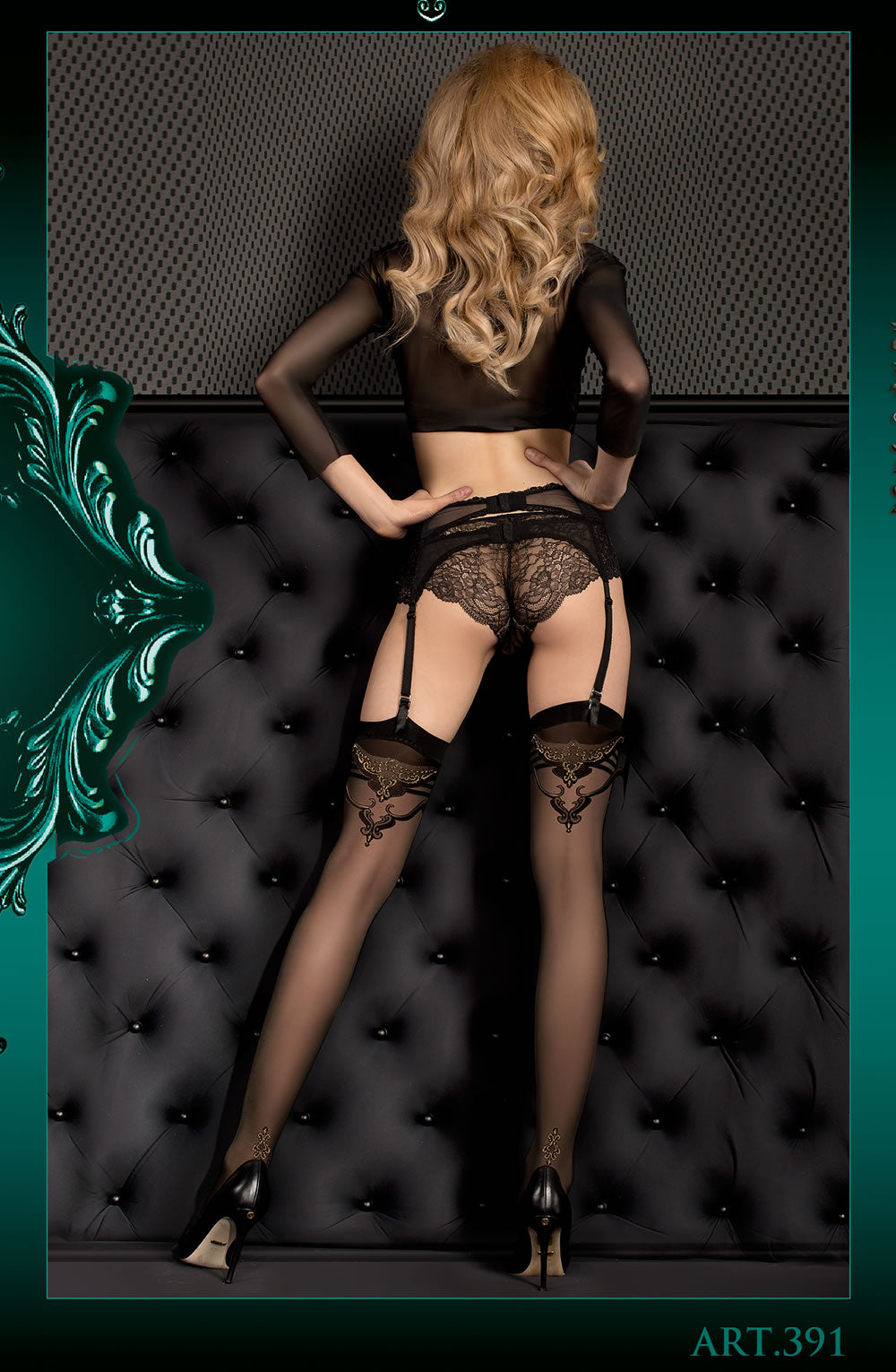 Thigh high stockings with gold stiching