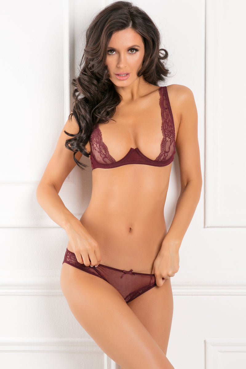 Rene Rofe With Love Half Cup Bra Set - Burgundy
