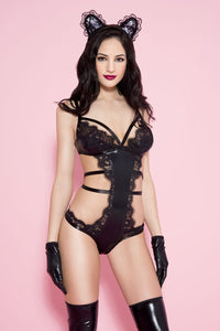 Music Legs Lace Bodysuit with Wetlook Cups - Black