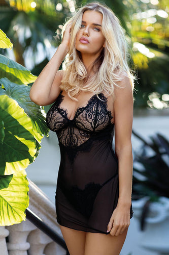 Black Sheer Chemise with Frayed Lace Cups
