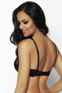 Padded Bra with Lace Overlay, Black