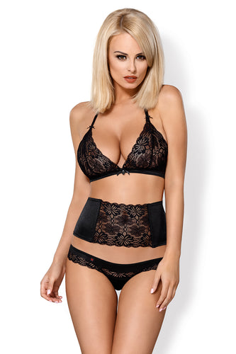 Lace lingerie set with waist belt