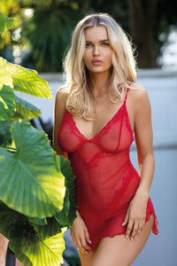Sheer Red Chemise with Lace Edging