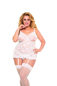 White plus size lace basque with cut-out cups
