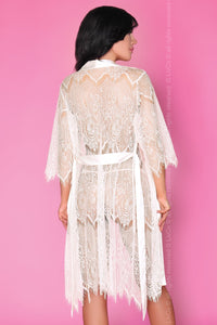 Layla White Lace Robe with Chemise and Thong