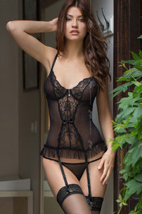 Black basque with lace cups and frill hem