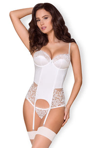 Obsessive Push-up Corset with Transparent Panelling, White