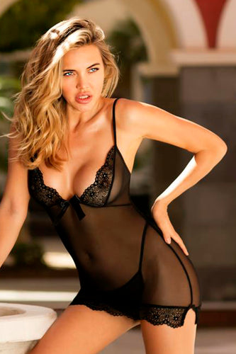 Black sheer chemise with thong