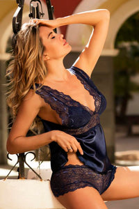 Navy satin camisole with lace booty short