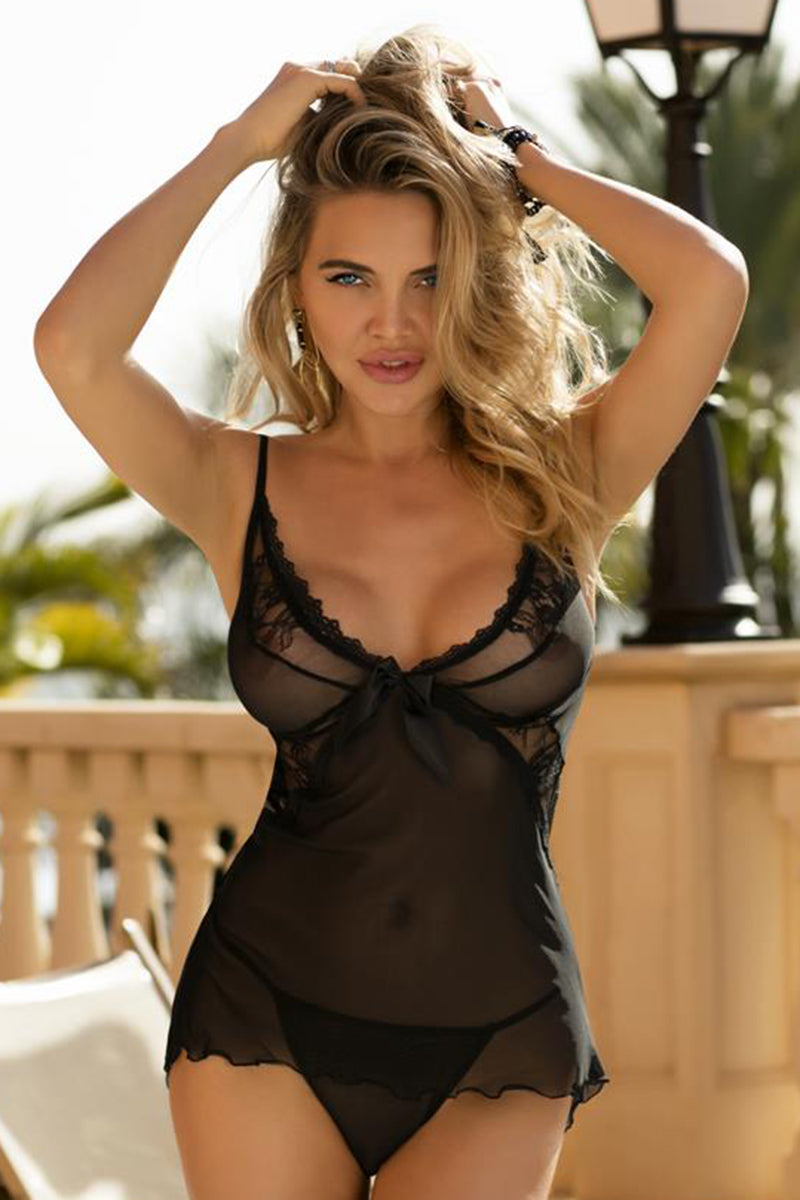 Sheer black chemise with matching thong