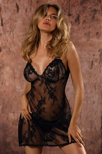 Black lace nightie with g-string