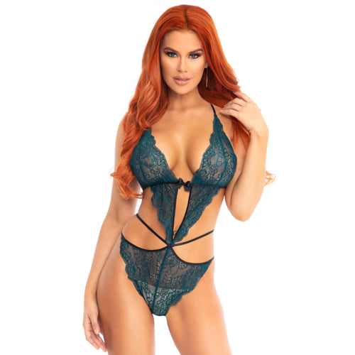 Leg Avenue Teal Scalloped Lace Wrap Around Teddy