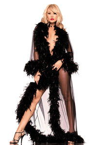 Be Wicked Full-Length Robe With Feather Trim - Black