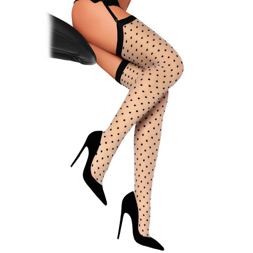 Thigh high polka dot skin coloured stockings