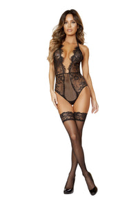 Low-cut Teddy with Plunge Neckline and Eyelash Trim