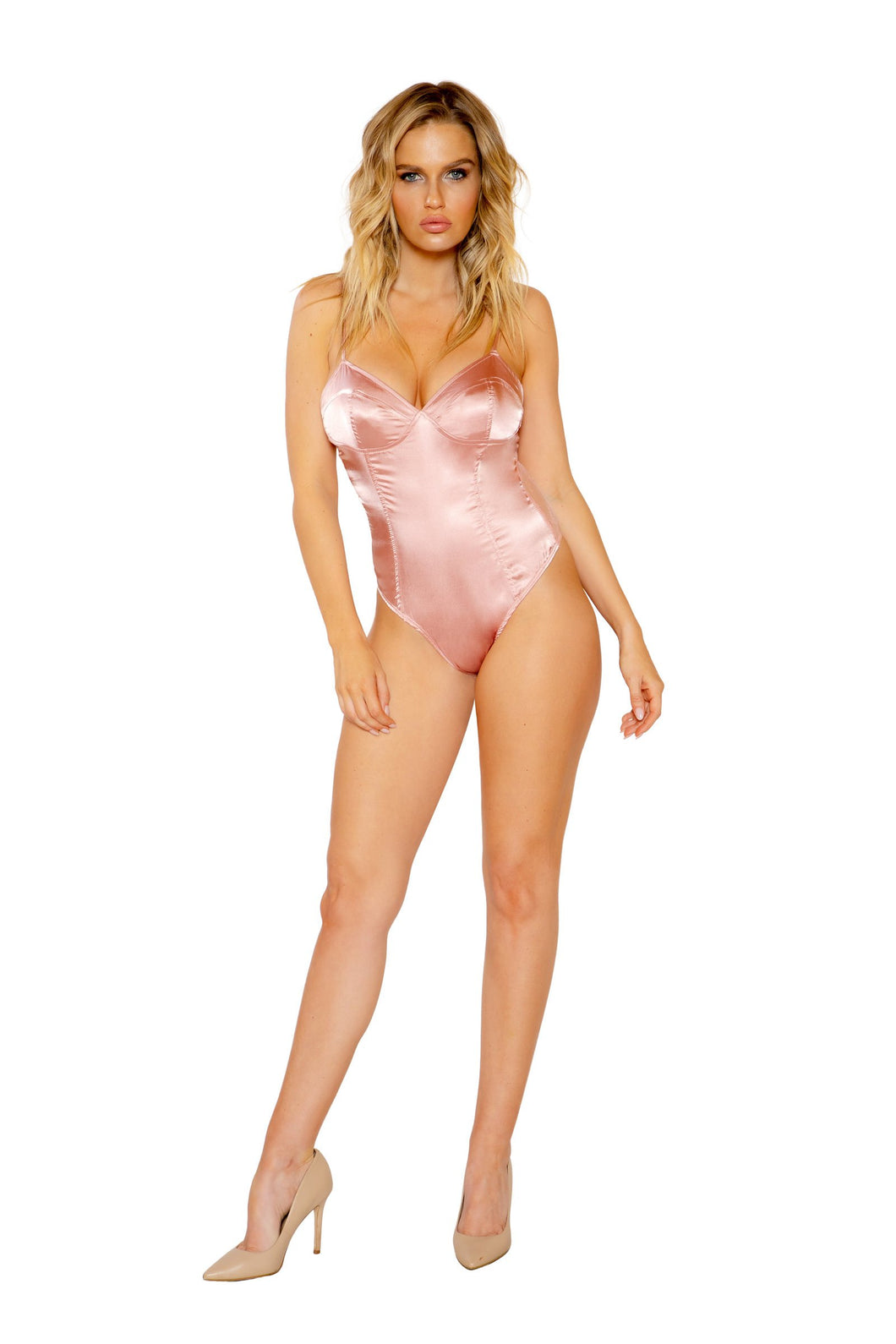 Dusty Pink Satin Bustier Teddy with Lace Back