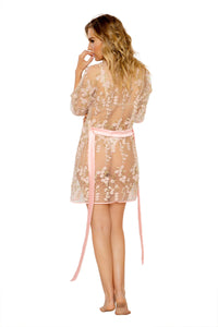 Nude Transparent Floral Robe