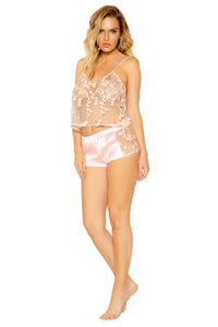 Floral Transparent and Satin Lounge Cami Set