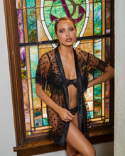 Load image into Gallery viewer, Chic Polka Dot Robe with Eyelash Lace Detail