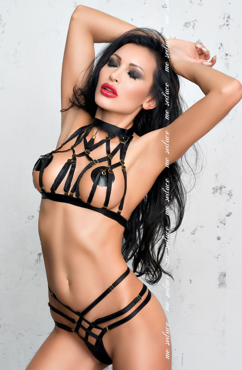 Black strappy lingerie set with choker neck