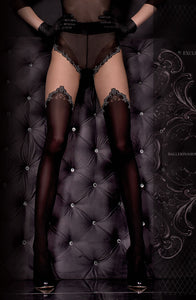 Black and Skin Stockings with Intricate Thigh Print