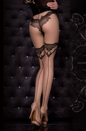 Skin coloured stockings with line up the back and lurex