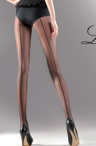 20 denier black tights with backseam