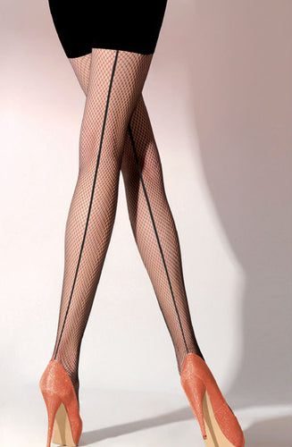 Black fishnet tights with small holes