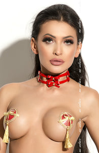 Me Seduce Red Nipple Covers with Gold Bows and Trim