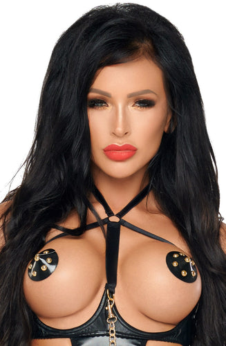 Me Seduce Black Nipple Covers with Gold Studs